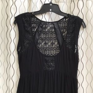 Tobi Dresses - Tobi Lace Panel Black Maxi Dress Small